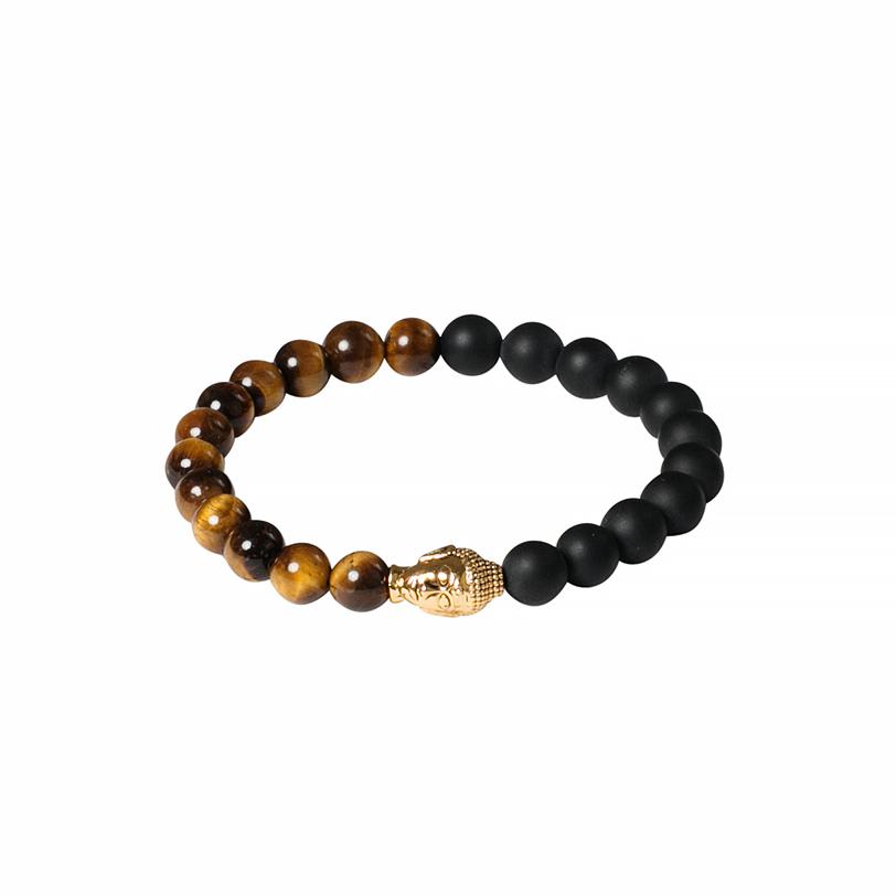 Nialaya Beaded Bracelet with Matte Onyx, Agate and Gold Buddha - Extra Large